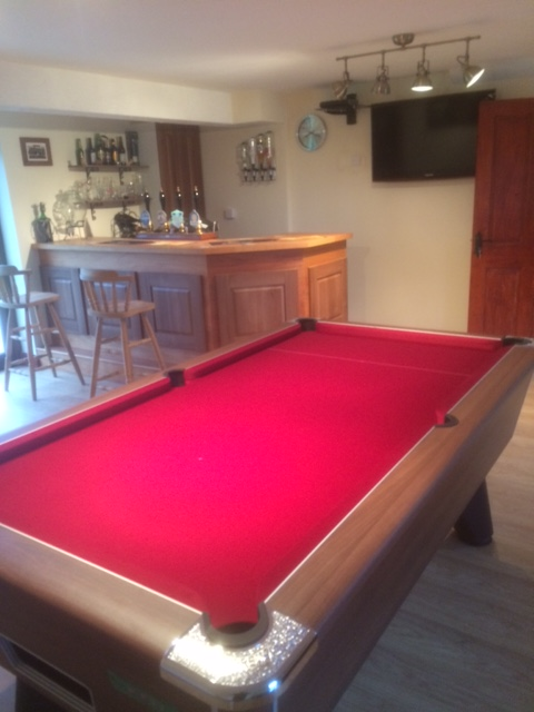 7ft Supreme Winner Pool Table Walnut Finish with Burgundy Speed Cloth