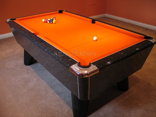 Supreme Winner Pool Table Black marble High Gloss Finish / Orange Cloth