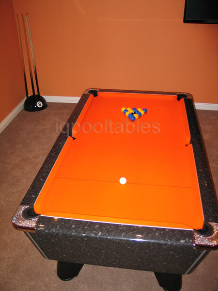 Supreme Winner Pool Table in black marble high gloss finish with orange cloth