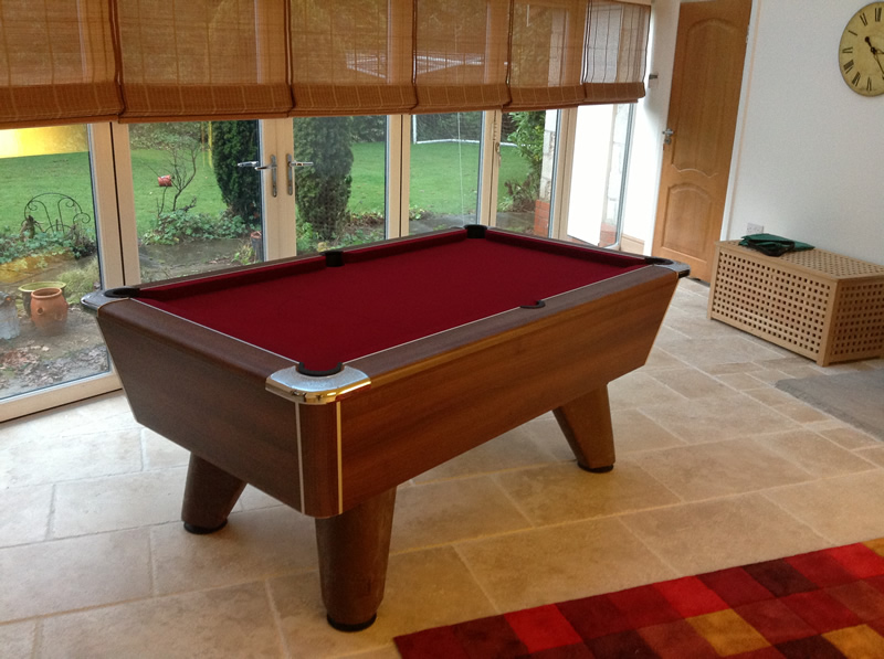 Supreme Winner Pool Table Walnut Finish / Burgundy Cloth