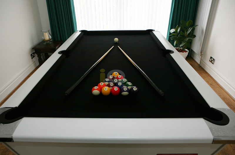Supreme Winner White Pool Table with Black Cloth