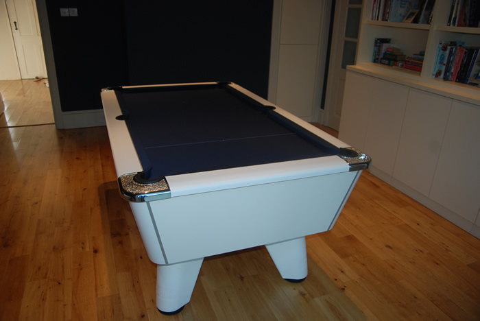 Supreme Winner Pool Table White Finish / Marine Blue Cloth