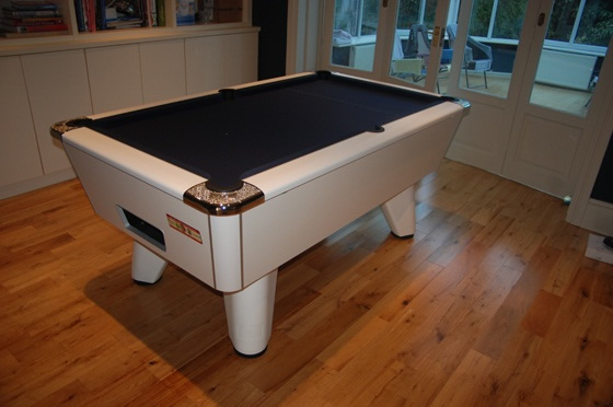 White Winner Pool Table with Marine Blue Cloth