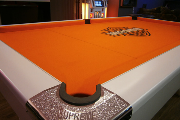 Supreme White Winner Pool Table with Orange Custom Harley Davdison Cloth