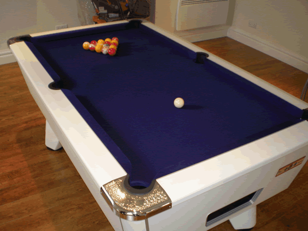 White Supreme Winner Pool Table with Purple Cloth