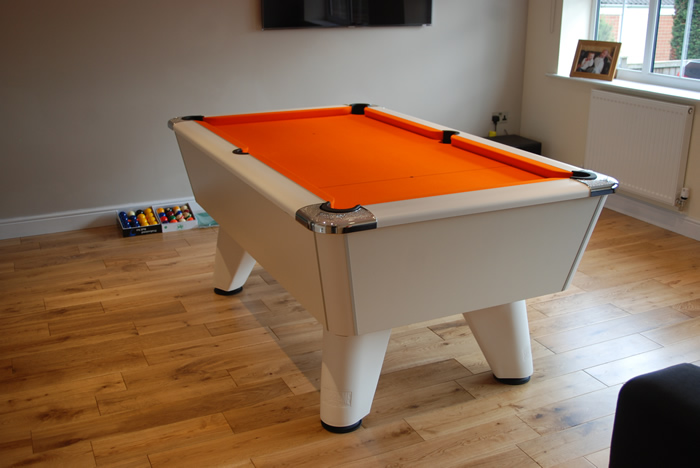 White Winner Pool Table with Orange Cloth