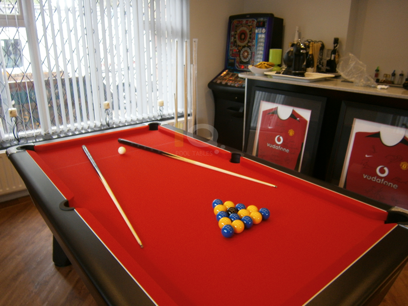 Iq Install Supreme Winner Pool Table Black Finish Red Cloth