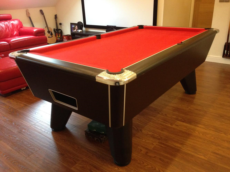 Black Winner Pool Table With Red Cloth