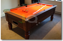 Walnut Prnce 7ft Pool Table with Orange Cloth Installation