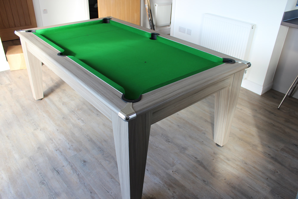 Gatley Classic 6ft Pool Dining Table Driftwood Finish/Green Cloth