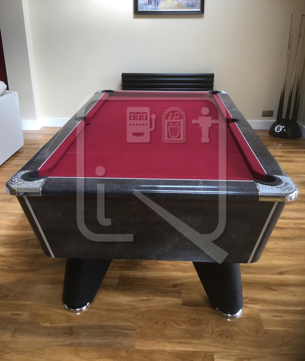Supreme Winner Black Marble Pool Table with Burgundy Cloth img 1