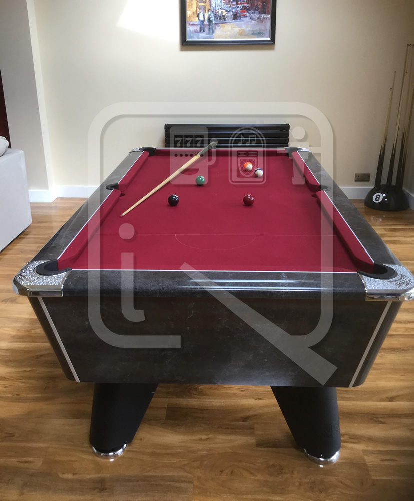 Supreme Winner Black Marble Pool Table with Burgundy Cloth img 2