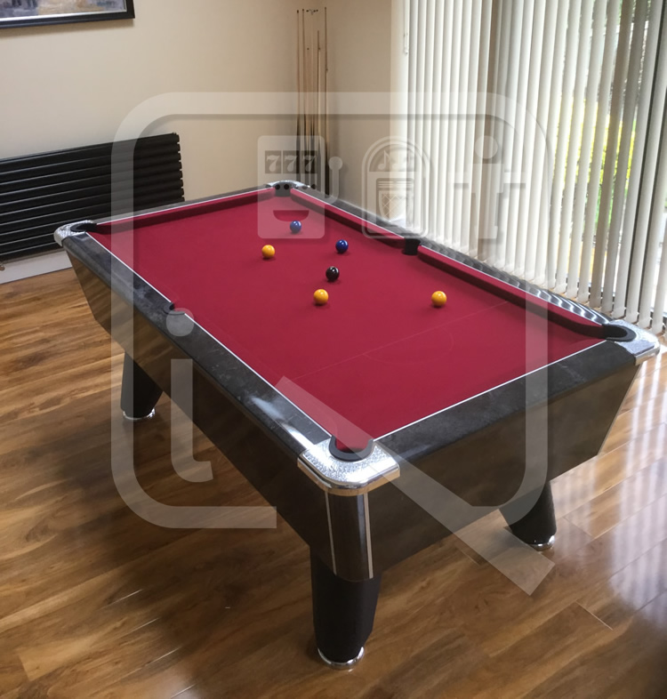 Supreme Winner Black Marble Pool Table with Burgundy Cloth img 4