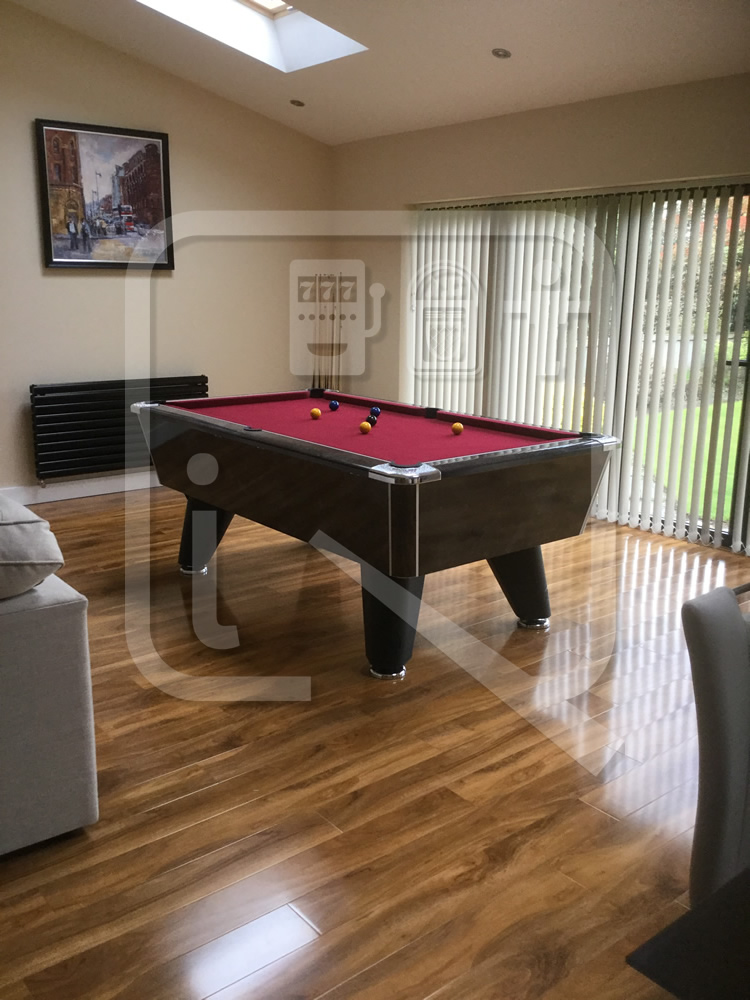 Supreme Winner Black Marble Pool Table with Burgundy Cloth img 5