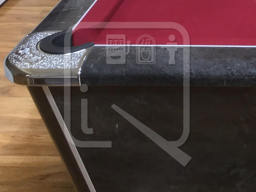 Supreme Winner Black Marble Pool Table with Burgundy Cloth img 7