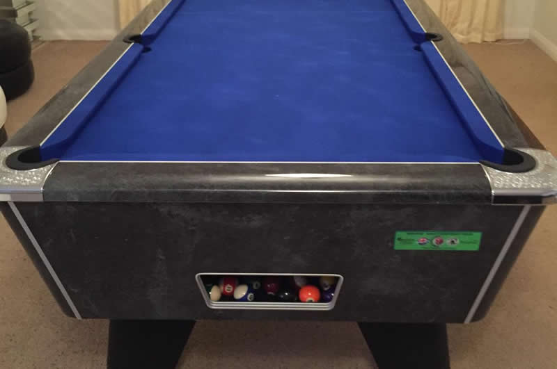 Supreme Winner Pool Table Black Marble High Gloss Finish / Blue Cloth