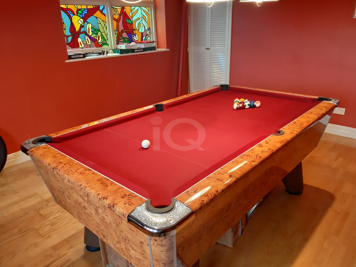 Supreme Winner Pool Table Amberwood Finish / Burgundy Cloth