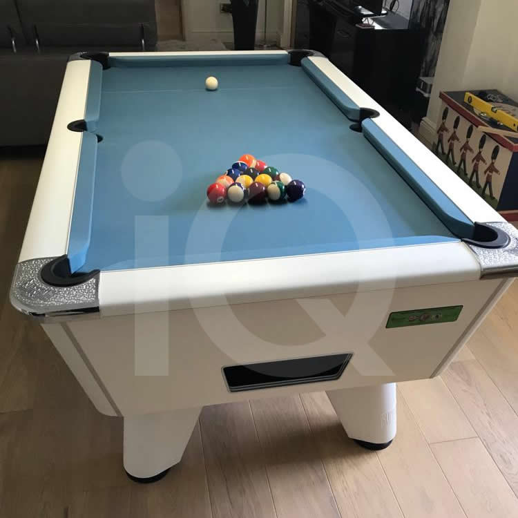 6ft White Winner Pool Table with Simonis IPA Tournament Cloth