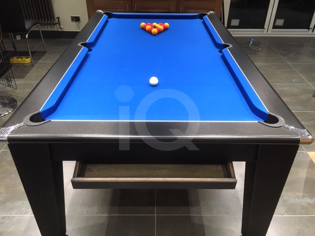 Gatley Black Pool Dining Table / Blue Cloth