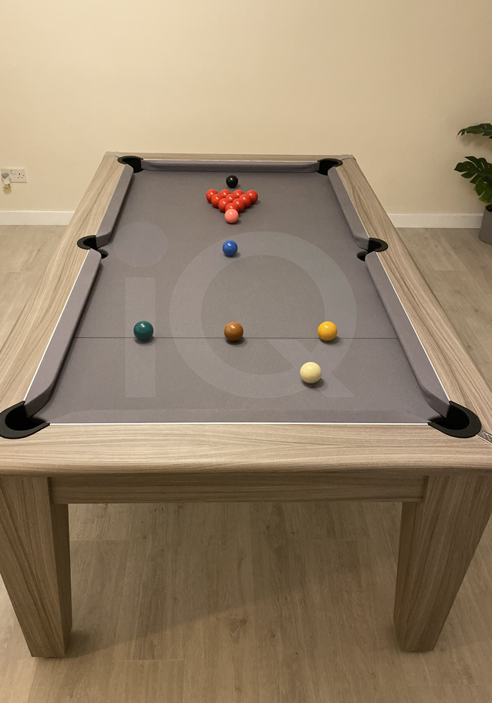 Gatley Classic 7ft Pool Dining Table Driftwood Finish/Silver Cloth