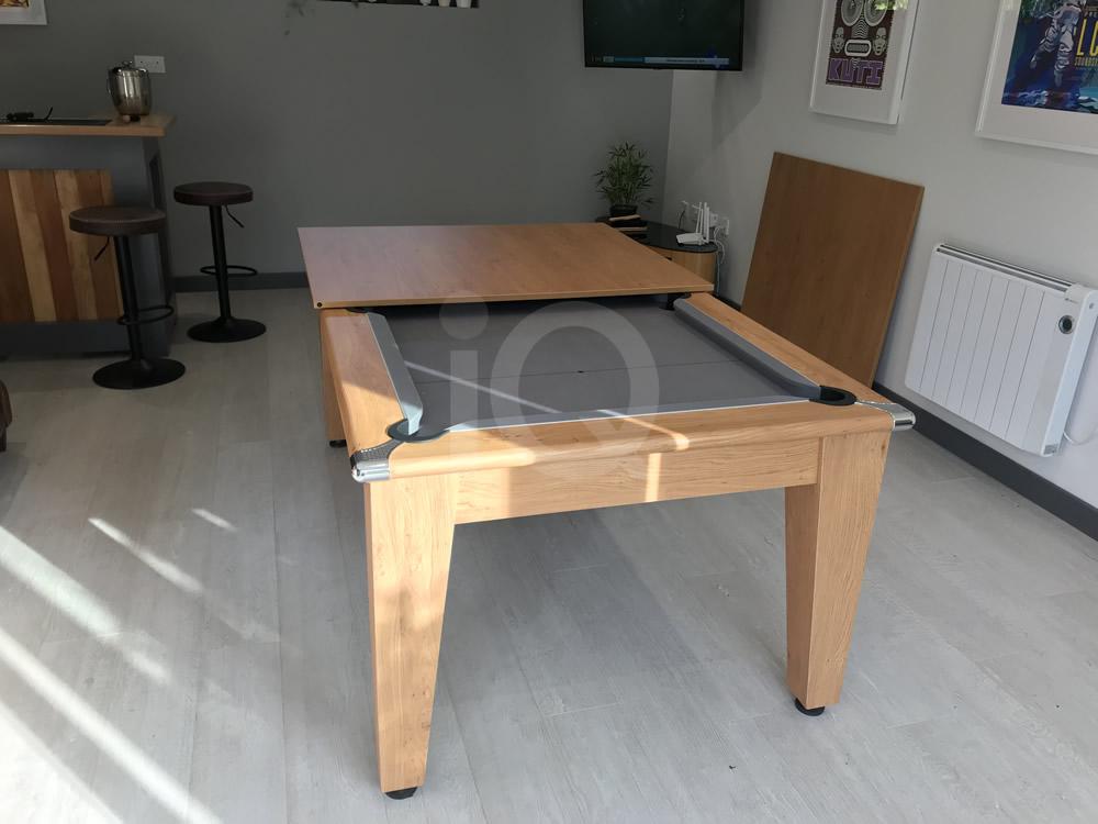 Gatley Classic Pool Dining Table Oak Finish/Silver Cloth