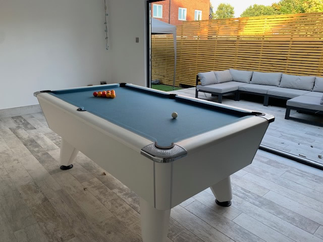 IQ Install - 7ft Freeplay White Pearl Winner with Powder Blue Tournament Cloth